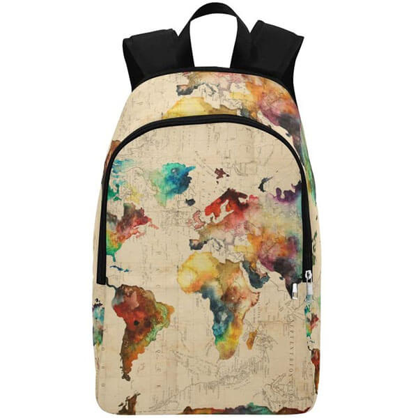 World Map Themed Multicolored Backpack