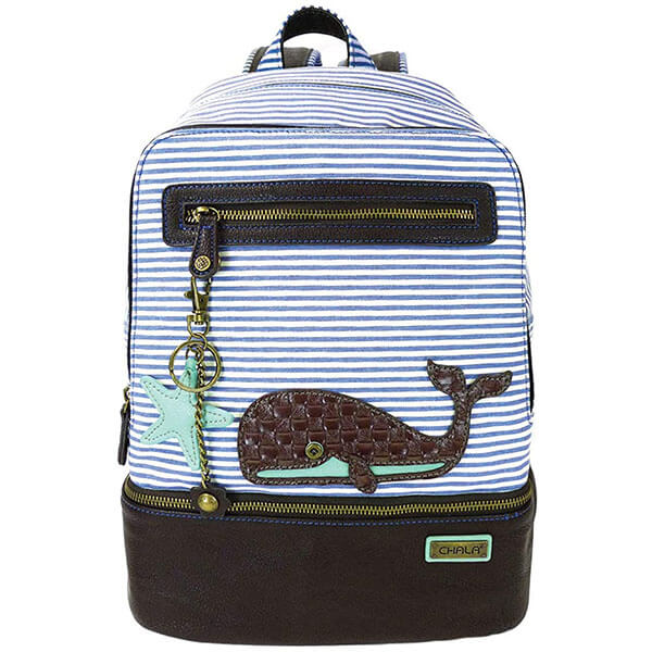 Cute Whale Backpack with StarFish Keychain