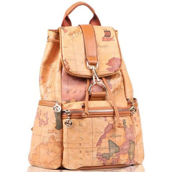 Faux Leather World Map Backpack