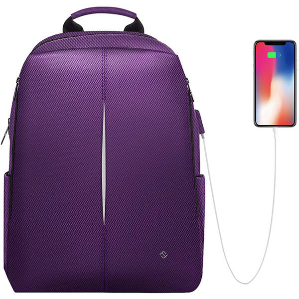 Purple Girls Casual Laptop USB Charging Backpack