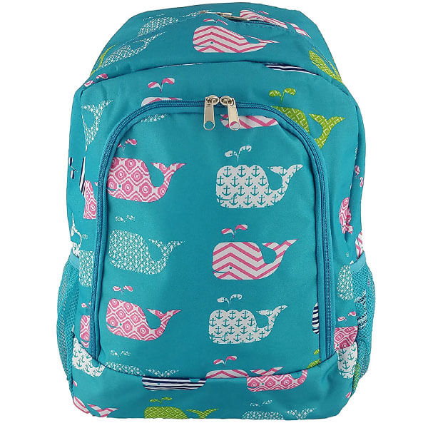 Turquoise Spacious School Backpack with Whale Prints