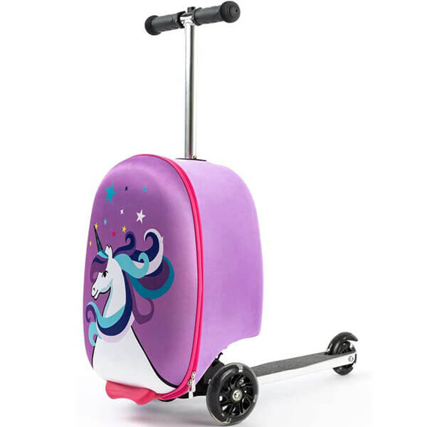 Unicorn Print Scooter Suitcase Backpack