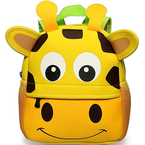 Yellow Base 3D Giraffe Face Ear Backpack