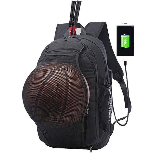 Basketball Soccer Holder Sports Backpack with USB Port