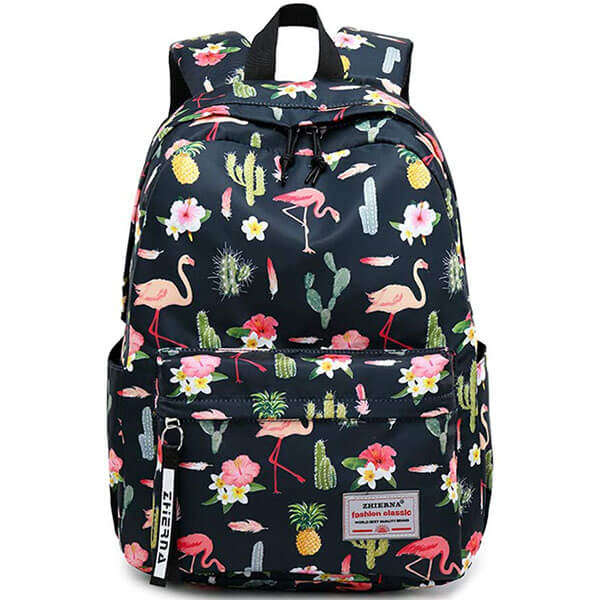 Black Color Flamingo Print Teenagers Backpack