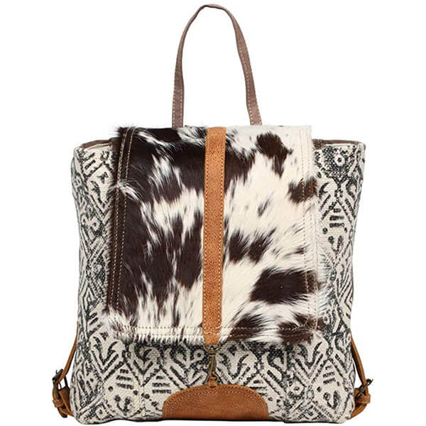 Girls Cow Fur Canvas Backpack