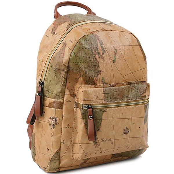 Khaki Color Map Patterned Backpack for Women