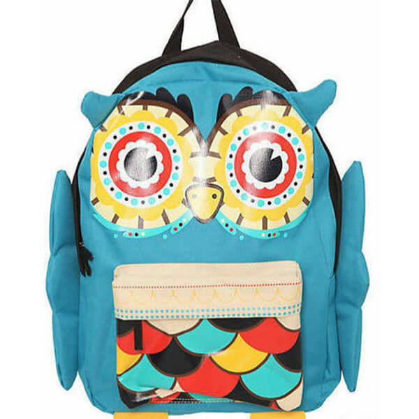 Turquoise Cute Colorful Owl School Backpack