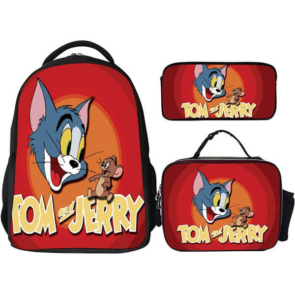 Water-Resistant Tom and Jerry Three-Piece Backpack Set