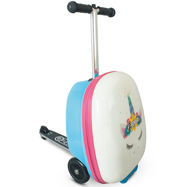 White Suitcase Backpack with Scooter