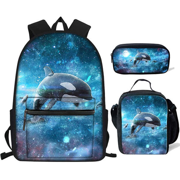 3in1 Galaxy Whale Printed Backpack