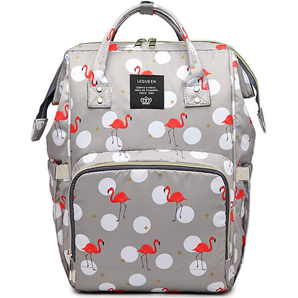 Flamingo Backpack with White Ball Print