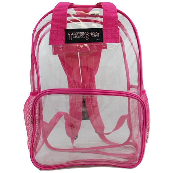 Pink Transparent Vinyl Backpack for Girls