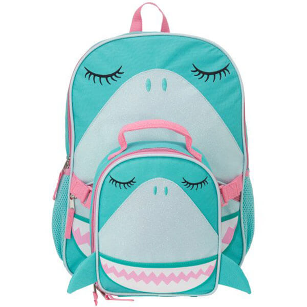 Turquoise Shark School Backpack with Lunch Kit