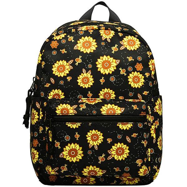Water-resistant Black Sunflowers Mini Backpack