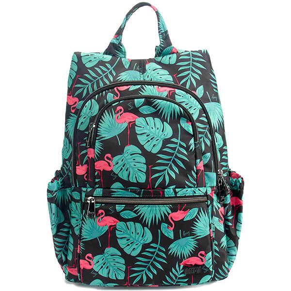 Flamingo Backpack with Attractive Green Leaves Print