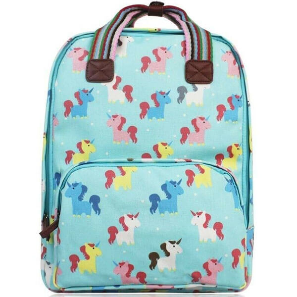 Ladies Turquoise-Unicorn Oilcloth Backpack