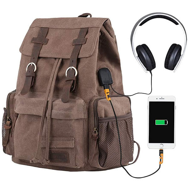 Music and Charging Canvas Girl's Power Backpack