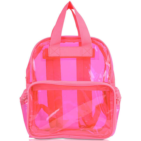Neon Pink Semi-Transparent Vinyl Backpack