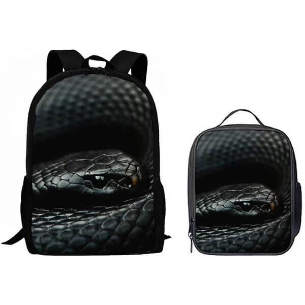 Scary Black Mumba Backpack Set with Lunchbox
