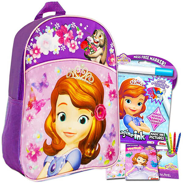 Toddlers Sofia Book Bag with Coloring Book & Stickers