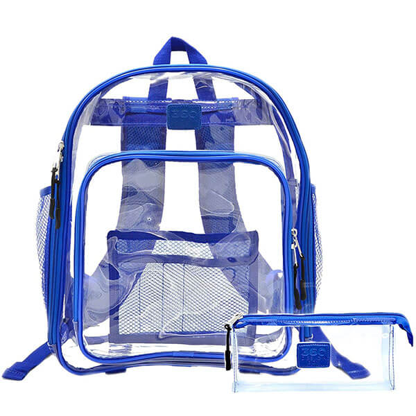 Blue Clear Vinyl PVC Backpack with Pencil Bag