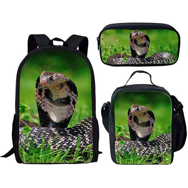 King Cobra Backpack with Lunch Bag and Pencil Bag