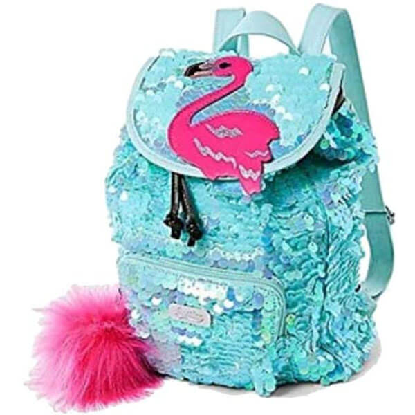 Sequin Flamingo Mini Backpack with Fluffy Pompom
