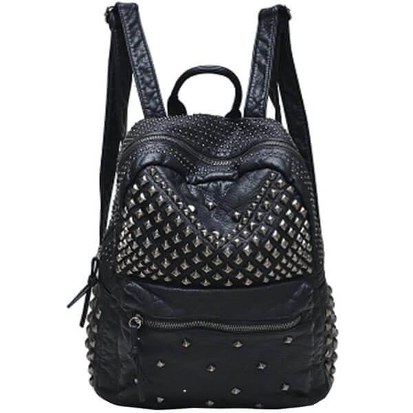 Studded Black Leather Spike Backpack