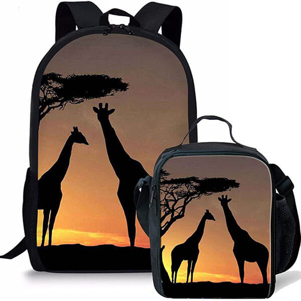 Two Giraffe Print Backpack with Lunch Bag