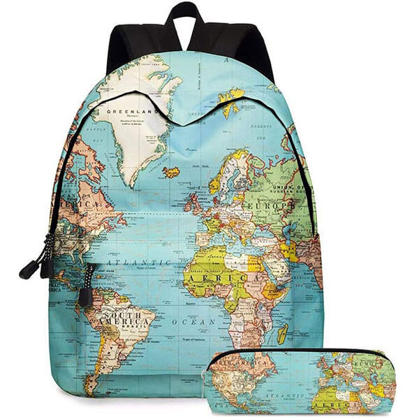 World Globe Backpack with Pencil Case