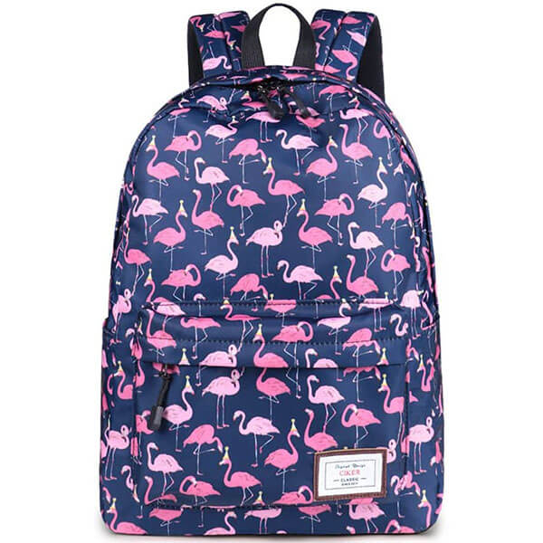 Classical Blue Base Flaming Print Backpack