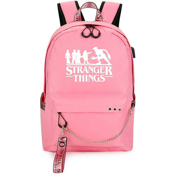 Oxford Cloth Pink USB Stranger Things Backpacks