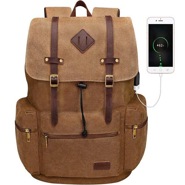 USB Charging Port Vintage Leather Vegan Backpack