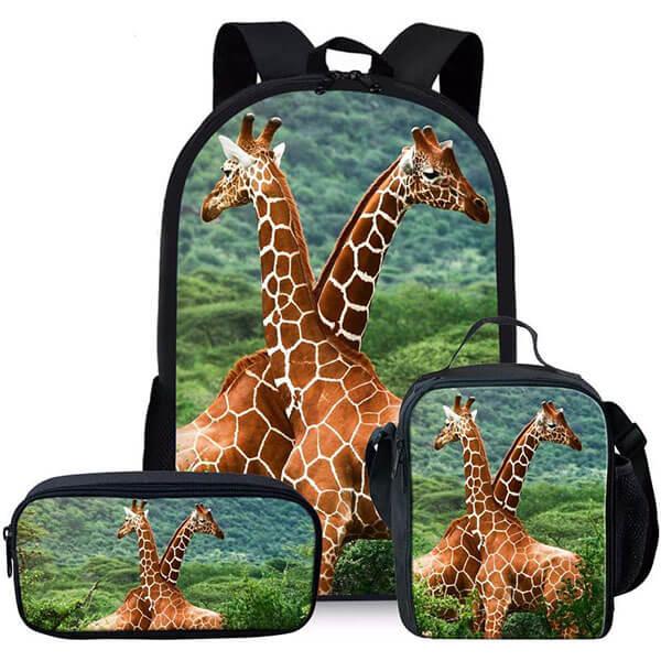 Vivid 3D Design Giraffe Combo Backpack