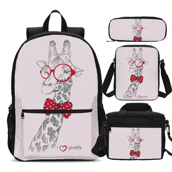 Cool Giraffe Combo Backpack with Bow Tie