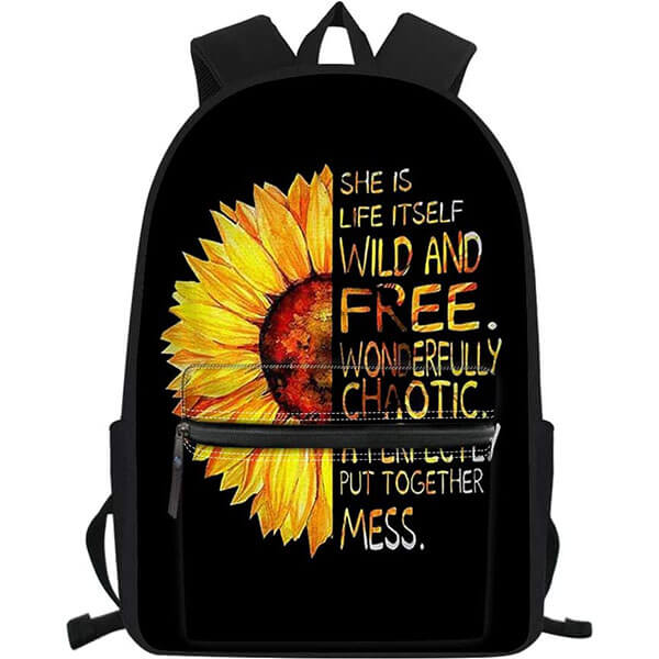 Half-Sunflower Paint Quoted Laptop Backpack