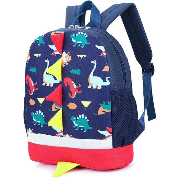Multicolor Dinosaur Print Spike Backpack