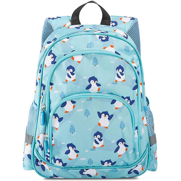 Sky Blue Penguin backpack for kindergarten kids