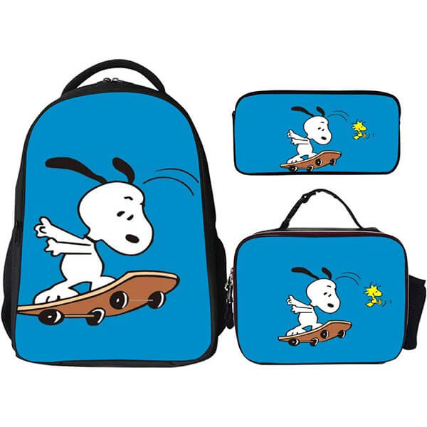 Water Resistant Snoopy Backpack with Lunch Bag