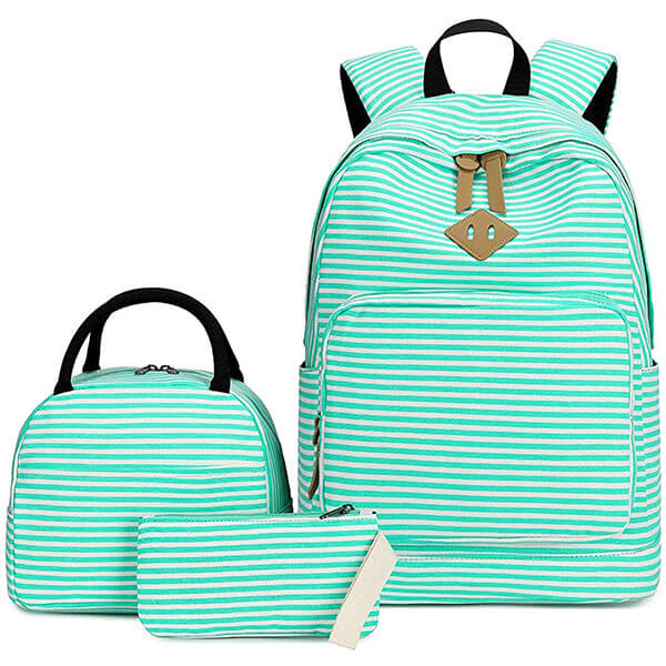 3 in 1 Turquoise-White Striped Backpack Set