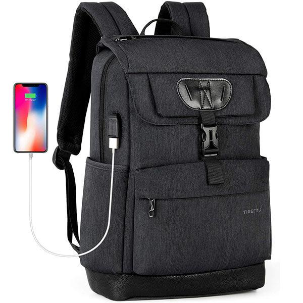 Ergonomic Water-Resistant Oxford USB Port Backpack