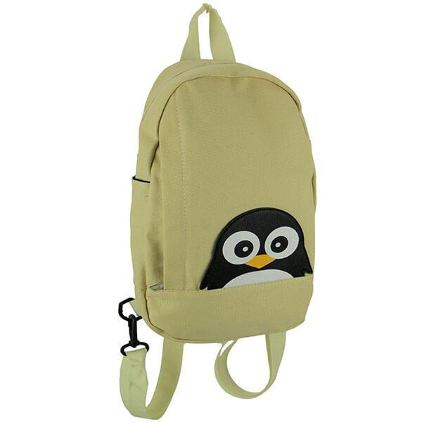Beige Staring Penguin Sling Backpack