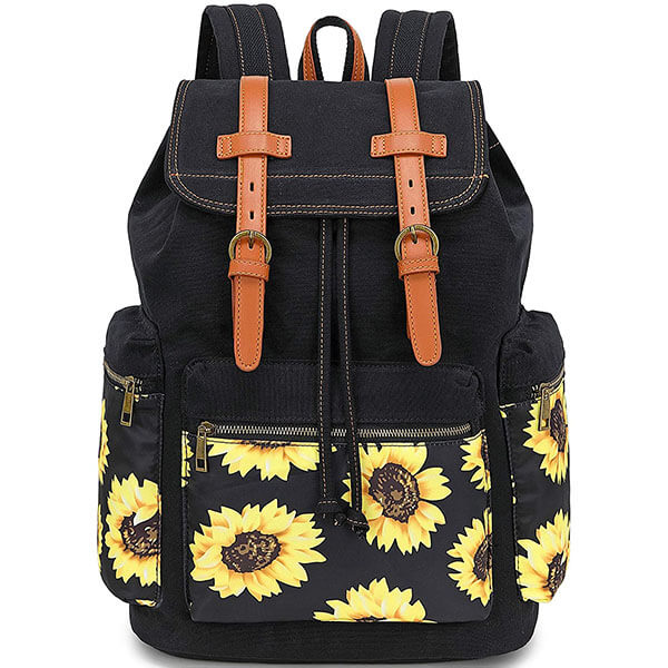 Drawstring and PU Leather Belt Floral Backpack