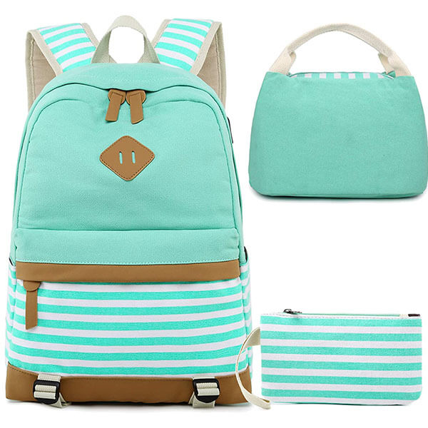 Turquoise Canvas Backpack Set with USB Port