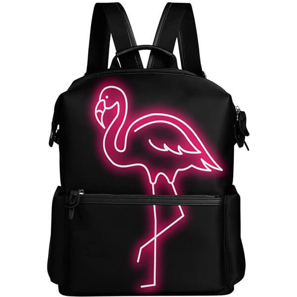 Black Sparkling Pink Flamingo Backpack