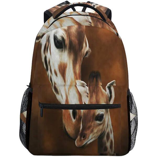 Brown Giraffe Face Print Backpack