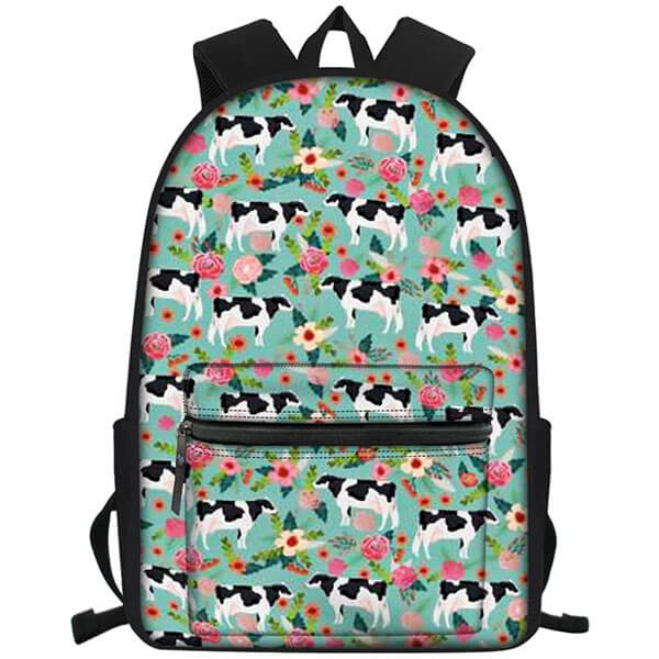 Cow and Floral Print Backpack