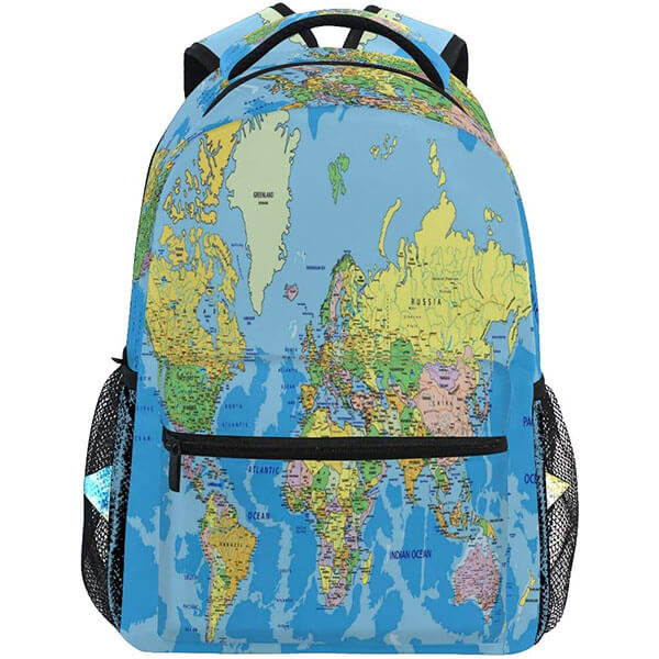 Light-weight world Map Educational Backpack