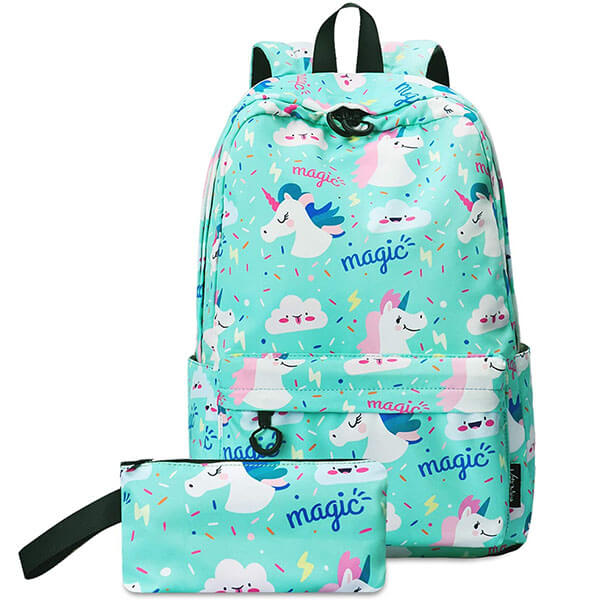 Unicorn Turquoise Backpack with Pencil Pouch